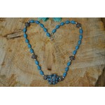 Blue Magnesite Fancy Bead Silver tone Necklace